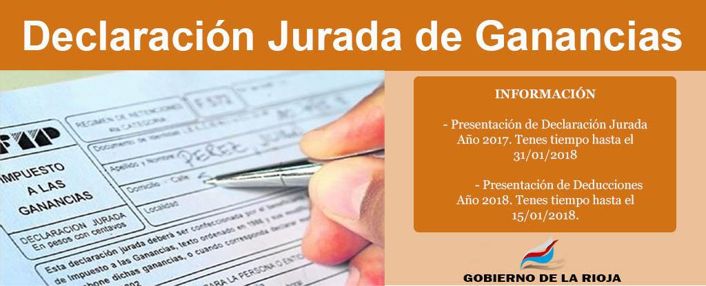 Presentación de Declaración Jurada de Impuestos a las Ganancias