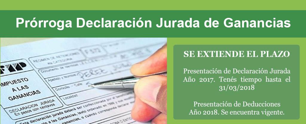 Prórroga Presentación de Declaración Jurada de Impuestos a las Ganancias